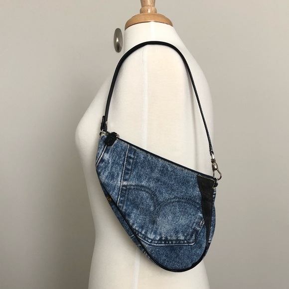 Dior Handbags - $750 Christian Dior Denim Trompe L'oeil Saddle Bag